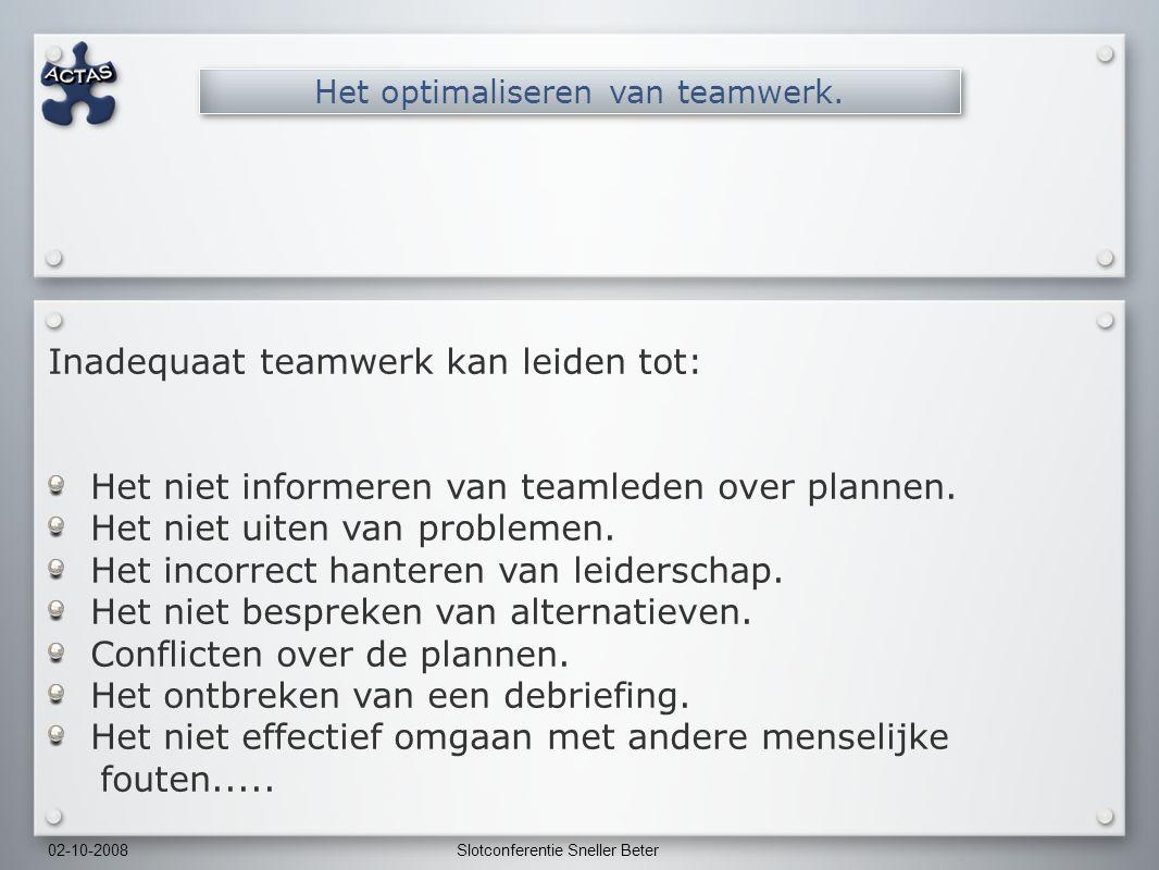 02-10-2008Slotconferentie Sneller Beter Inadequaat teamwerk kan leiden tot: Het niet informeren van teamleden over plannen.