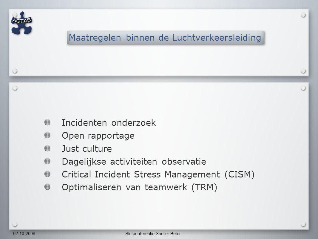 02-10-2008Slotconferentie Sneller Beter Incidenten onderzoek Open rapportage Just culture Dagelijkse activiteiten observatie Critical Incident Stress Management (CISM) Optimaliseren van teamwerk (TRM) Maatregelen binnen de Luchtverkeersleiding