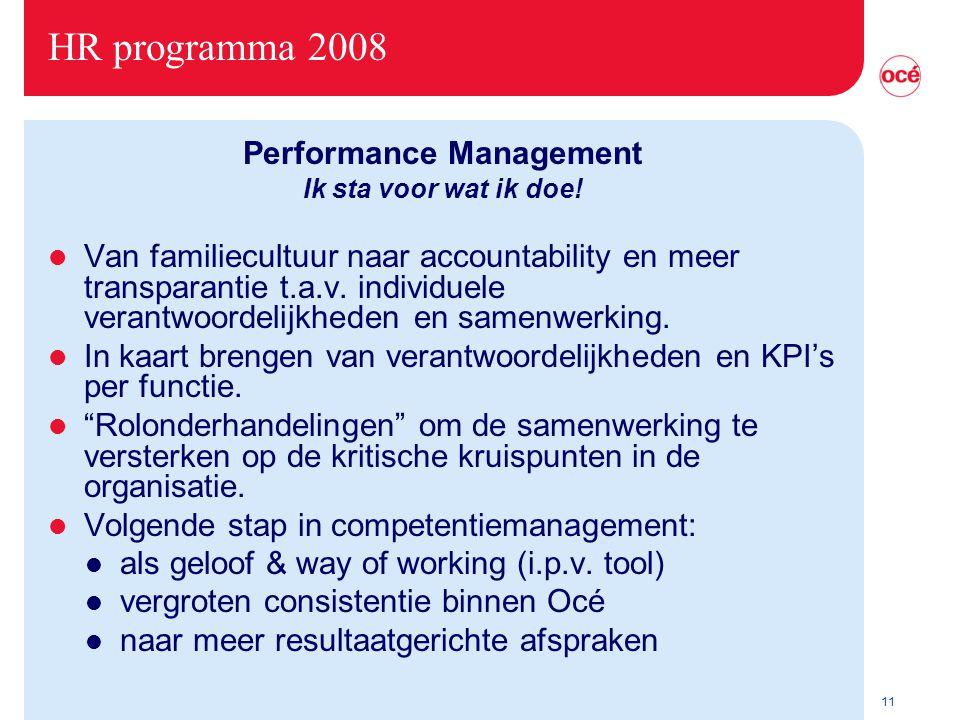 11 HR programma 2008 Performance Management Ik sta voor wat ik doe.