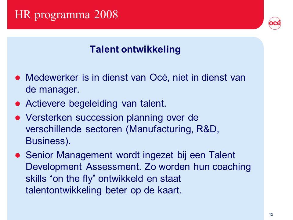 12 HR programma 2008 Talent ontwikkeling l Medewerker is in dienst van Océ, niet in dienst van de manager.