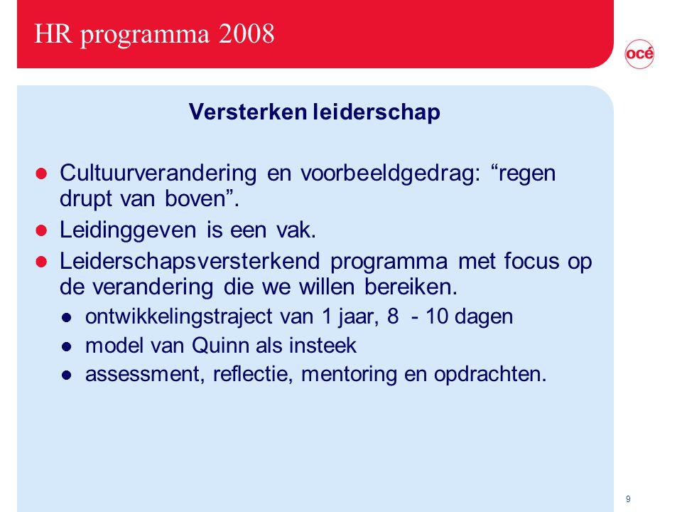 9 HR programma 2008 Versterken leiderschap l Cultuurverandering en voorbeeldgedrag: regen drupt van boven .