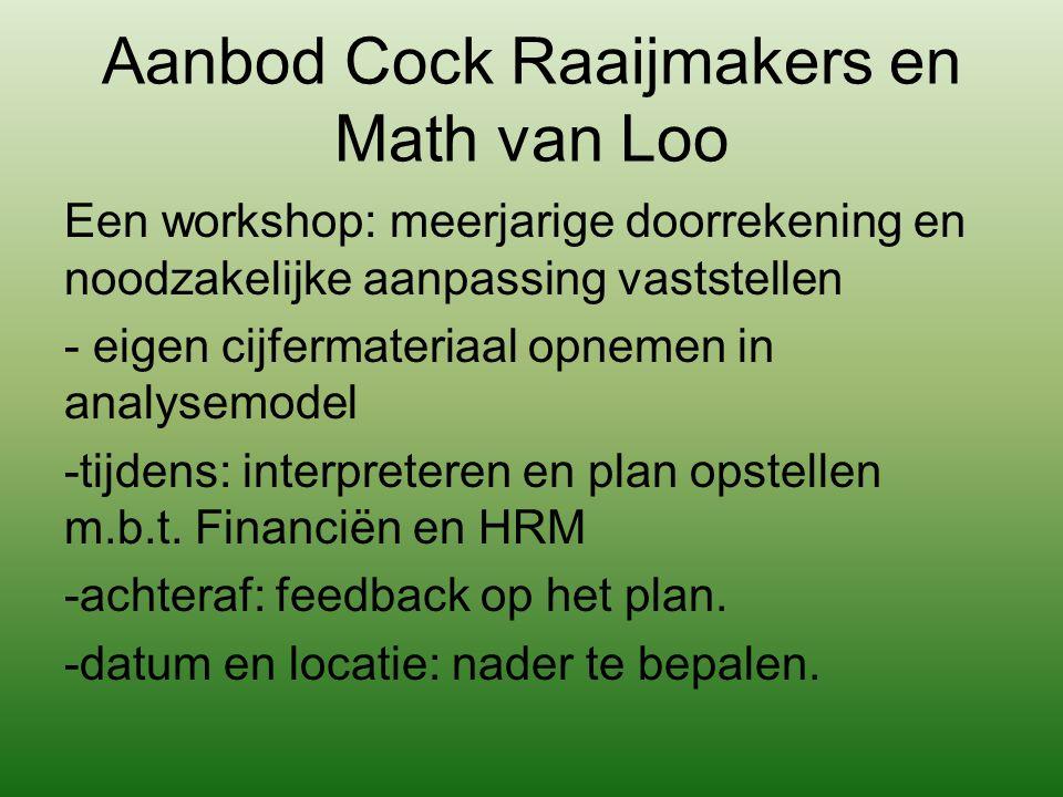 Aanbod Cock Raaijmakers en Math van Loo Een workshop: meerjarige doorrekening en noodzakelijke aanpassing vaststellen - eigen cijfermateriaal opnemen