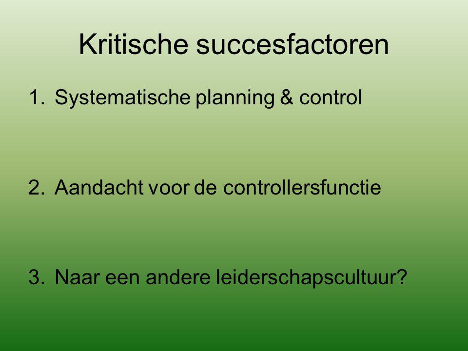 Kritische succesfactoren 1.Systematische planning & control 2.Aandacht voor de controllersfunctie 3.Naar een andere leiderschapscultuur?