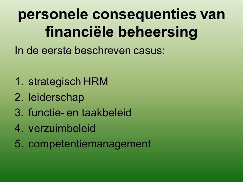 personele consequenties van financiële beheersing In de eerste beschreven casus: 1.strategisch HRM 2.leiderschap 3.functie- en taakbeleid 4.verzuimbel