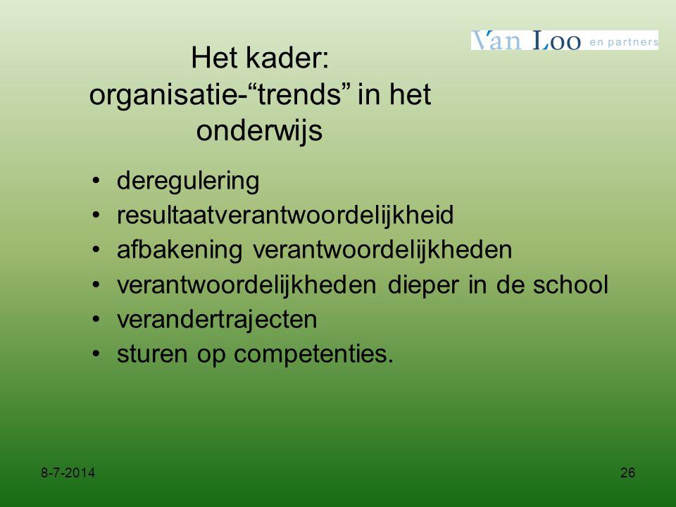 """26 Het kader: organisatie-""""trends"""" in het onderwijs deregulering resultaatverantwoordelijkheid afbakening verantwoordelijkheden verantwoordelijkheden"""