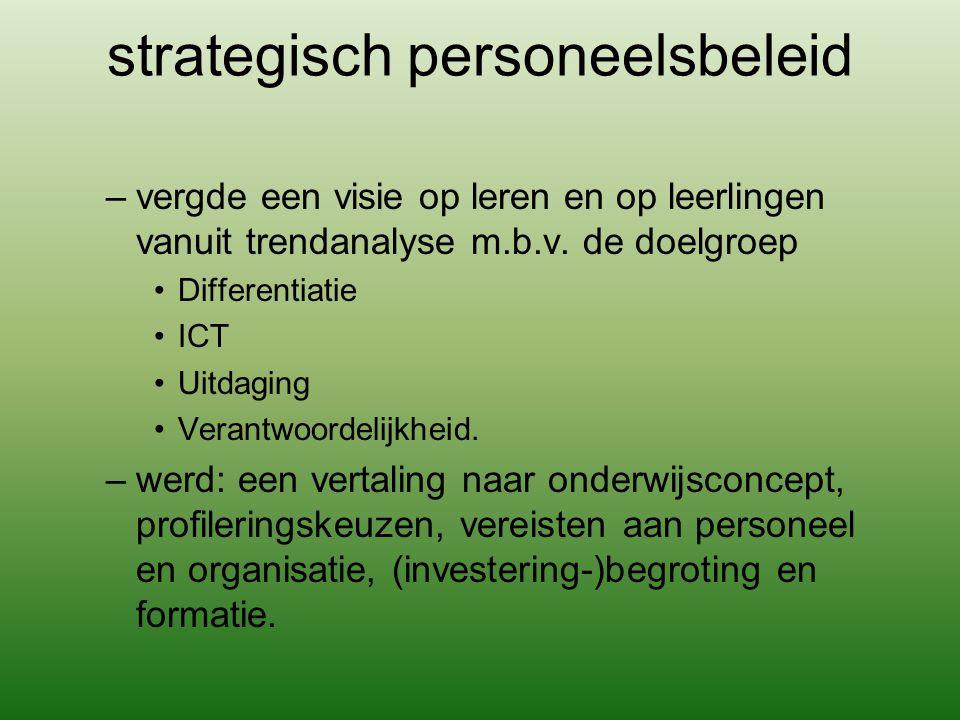 strategisch personeelsbeleid –vergde een visie op leren en op leerlingen vanuit trendanalyse m.b.v. de doelgroep Differentiatie ICT Uitdaging Verantwo