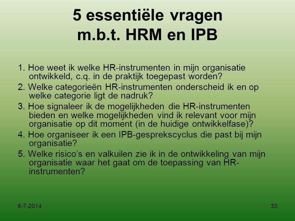 5 essentiële vragen m.b.t. HRM en IPB 1. Hoe weet ik welke HR-instrumenten in mijn organisatie ontwikkeld, c.q. in de praktijk toegepast worden? 2. We