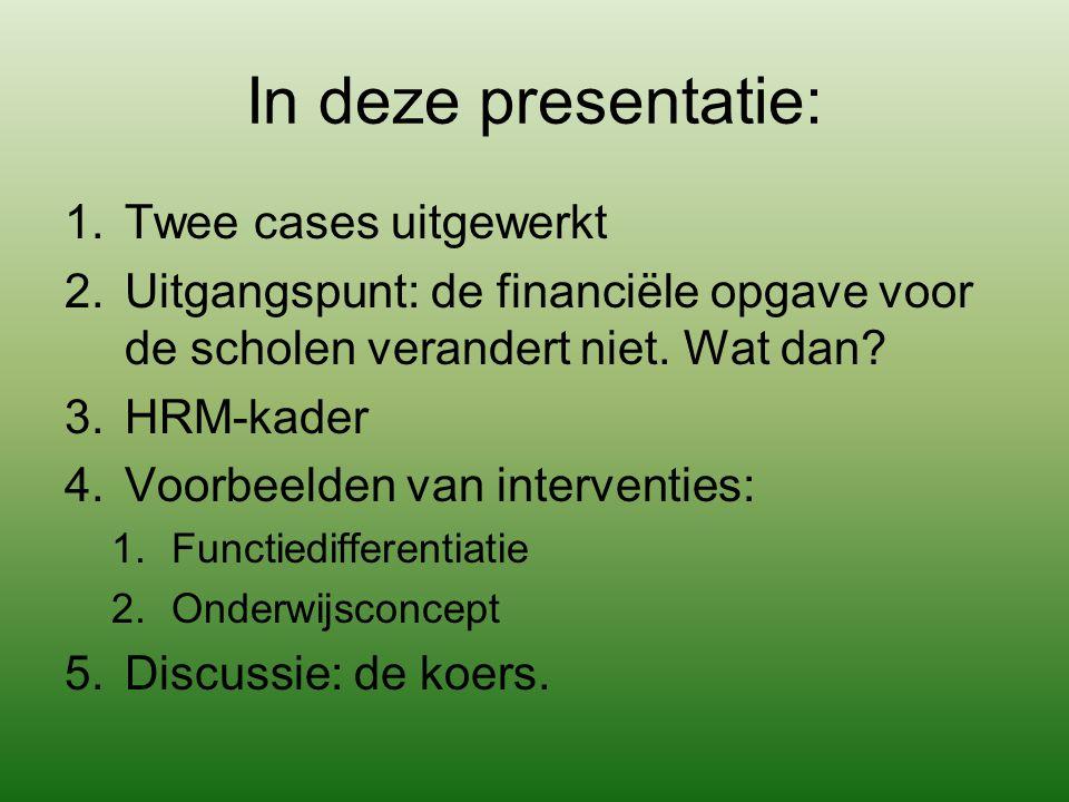 In deze presentatie: 1.Twee cases uitgewerkt 2.Uitgangspunt: de financiële opgave voor de scholen verandert niet. Wat dan? 3.HRM-kader 4.Voorbeelden v