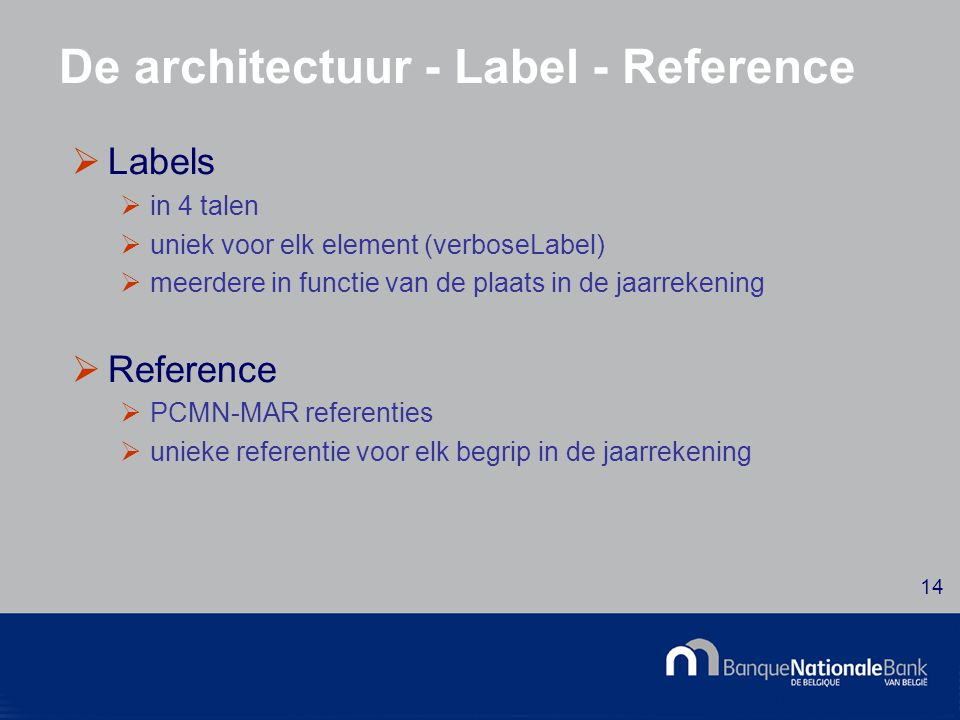© National Bank of Belgium 14 De architectuur - Label - Reference  Labels  in 4 talen  uniek voor elk element (verboseLabel)  meerdere in functie