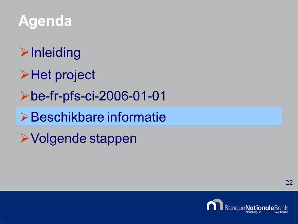 © National Bank of Belgium 22 Agenda  Inleiding  Het project  be-fr-pfs-ci-2006-01-01  Beschikbare informatie  Volgende stappen