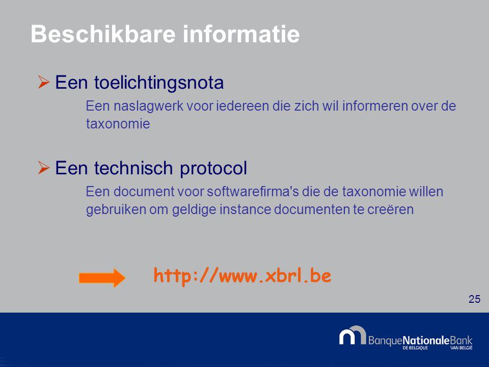 © National Bank of Belgium 25 Beschikbare informatie  Een toelichtingsnota Een naslagwerk voor iedereen die zich wil informeren over de taxonomie  Een technisch protocol Een document voor softwarefirma s die de taxonomie willen gebruiken om geldige instance documenten te creëren http://www.xbrl.be
