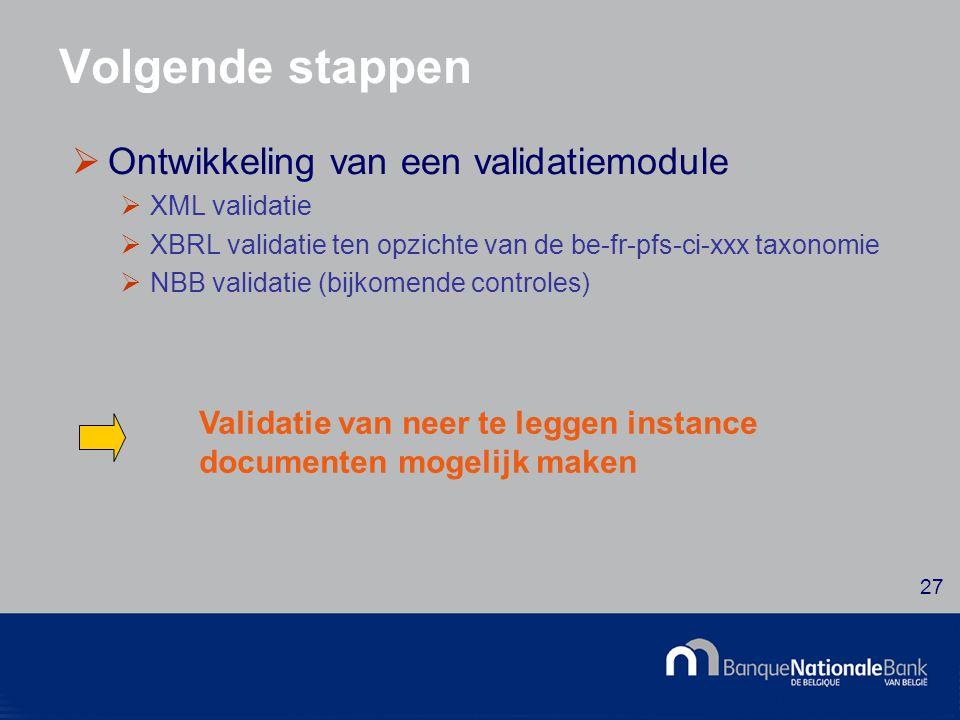 © National Bank of Belgium 27 Volgende stappen  Ontwikkeling van een validatiemodule  XML validatie  XBRL validatie ten opzichte van de be-fr-pfs-ci-xxx taxonomie  NBB validatie (bijkomende controles) Validatie van neer te leggen instance documenten mogelijk maken