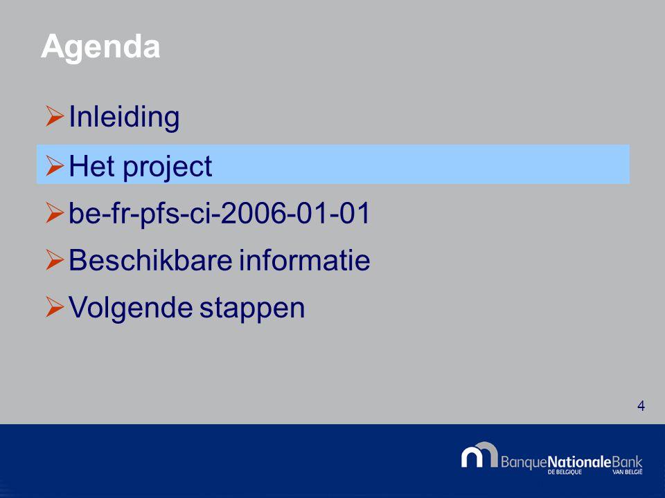 © National Bank of Belgium 15 De architectuur - Presentation  Presentatie per schema  Overeenstemming met de schema s op papier  Attributen van de presentatie (SectionName, Display,...)