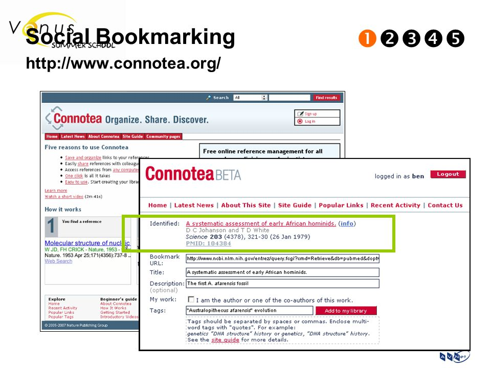 Social Bookmarking  http://www.connotea.org/