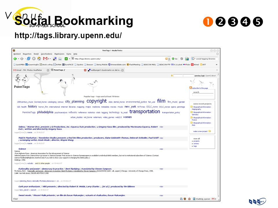 Social Bookmarking  http://tags.library.upenn.edu/