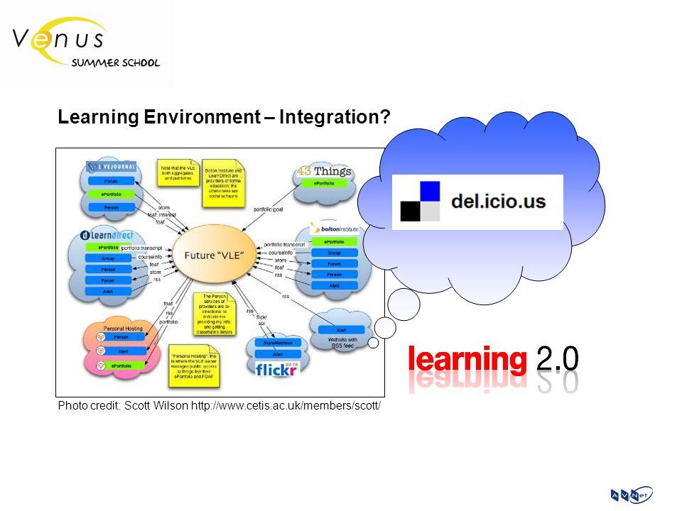 Learning Environment – Integration? Photo credit: Scott Wilson http://www.cetis.ac.uk/members/scott/