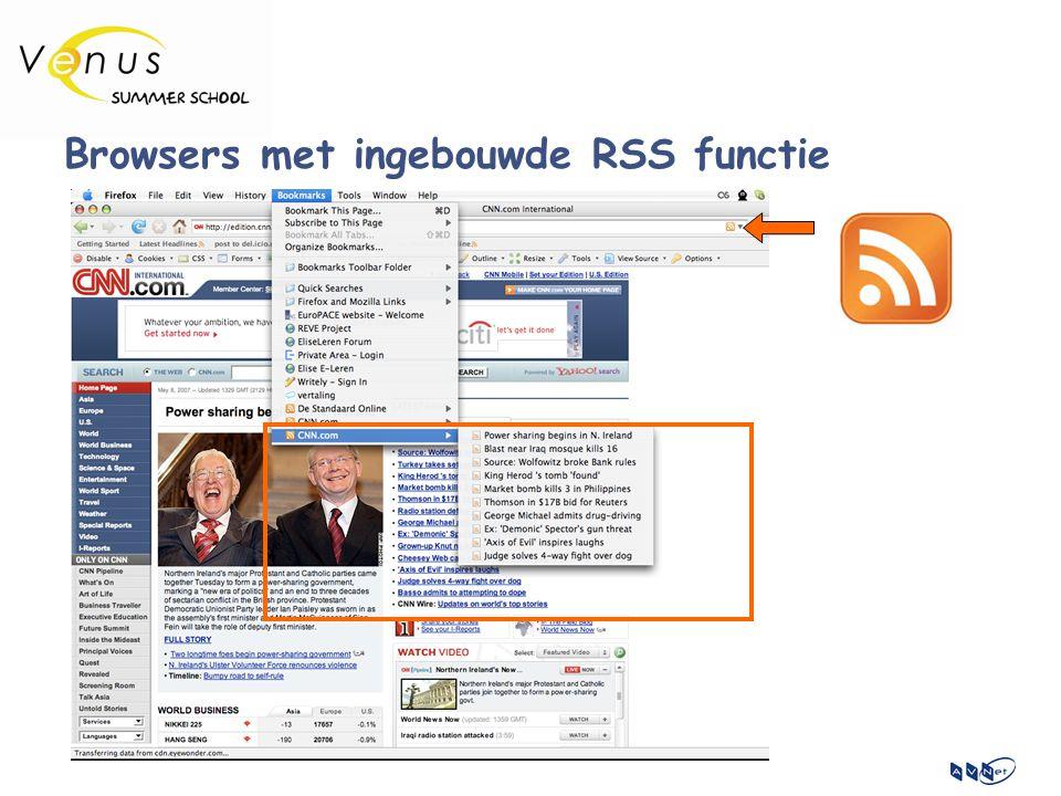 Browsers met ingebouwde RSS functie
