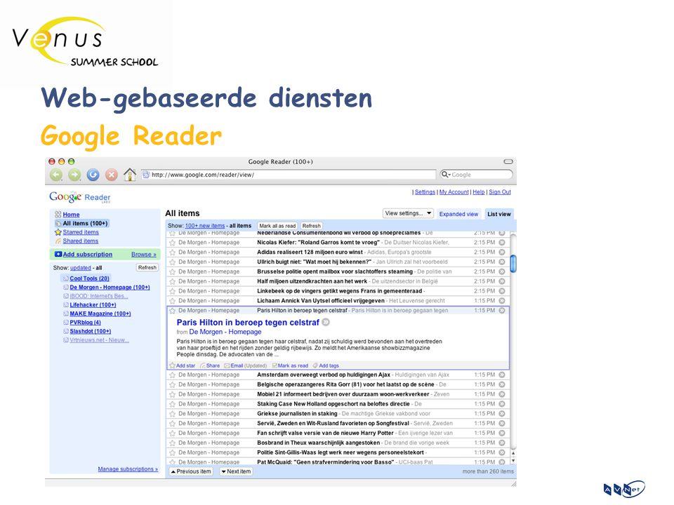 Web-gebaseerde diensten Google Reader