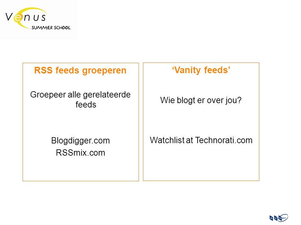 RSS feeds groeperen Groepeer alle gerelateerde feeds Blogdigger.com RSSmix.com 'Vanity feeds' Wie blogt er over jou? Watchlist at Technorati.com