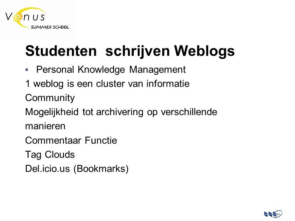 Studenten schrijven Weblogs  Personal Knowledge Management 1 weblog is een cluster van informatie Community Mogelijkheid tot archivering op verschillende manieren Commentaar Functie Tag Clouds Del.icio.us (Bookmarks)