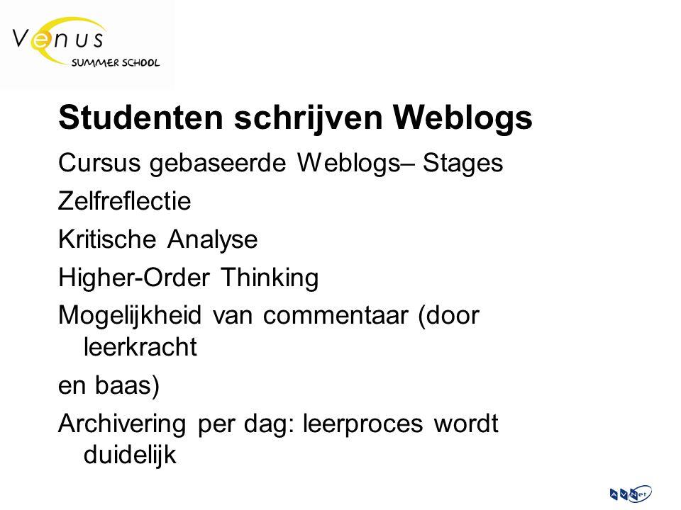 Studenten schrijven Weblogs Cursus gebaseerde Weblogs– Stages Zelfreflectie Kritische Analyse Higher-Order Thinking Mogelijkheid van commentaar (door leerkracht en baas) Archivering per dag: leerproces wordt duidelijk