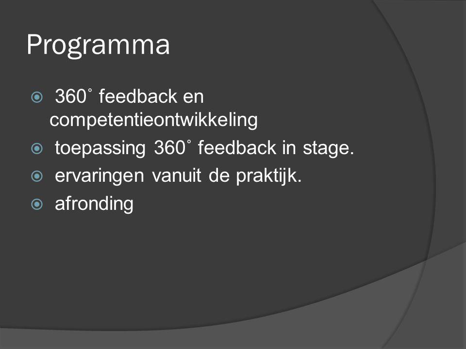 360˚feedback en competentieontwikkeling  Instrument; brede informatie krijgen functioneren.