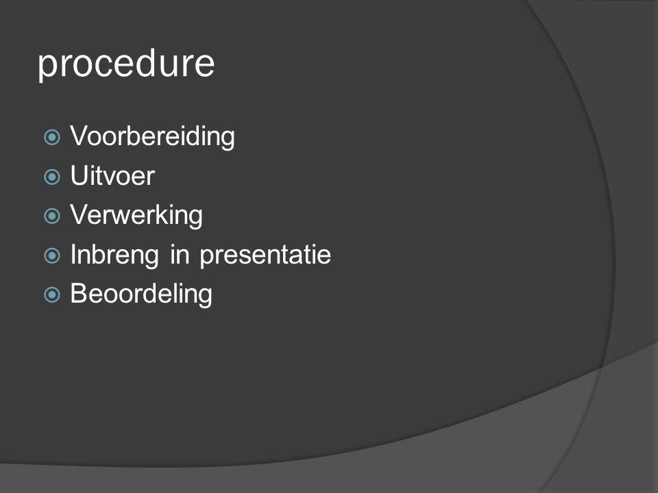 procedure  Voorbereiding  Uitvoer  Verwerking  Inbreng in presentatie  Beoordeling