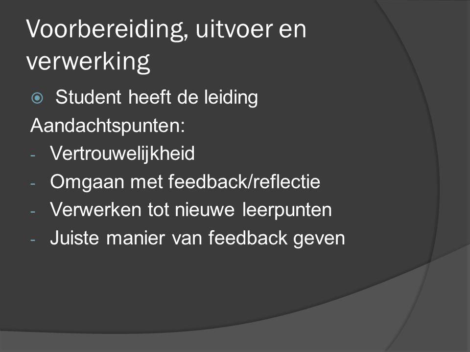 Voorbereiding, uitvoer en verwerking  Student heeft de leiding Aandachtspunten: - Vertrouwelijkheid - Omgaan met feedback/reflectie - Verwerken tot nieuwe leerpunten - Juiste manier van feedback geven