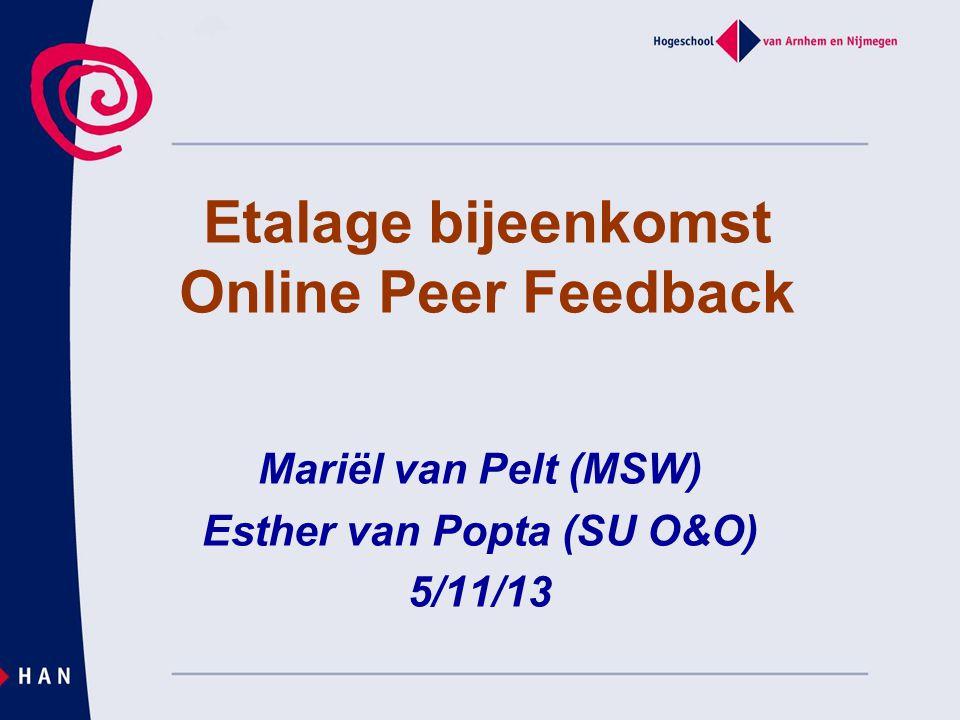 Mariël van Pelt (MSW) Esther van Popta (SU O&O) 5/11/13 Etalage bijeenkomst Online Peer Feedback