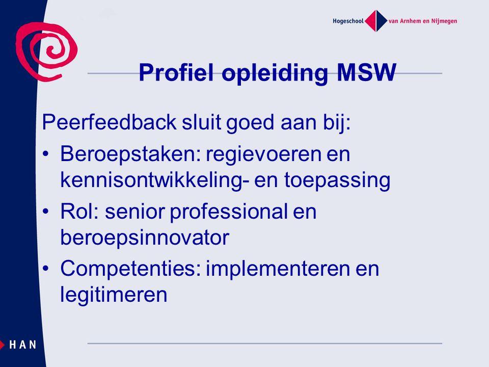Profiel opleiding MSW Peerfeedback sluit goed aan bij: Beroepstaken: regievoeren en kennisontwikkeling- en toepassing Rol: senior professional en bero