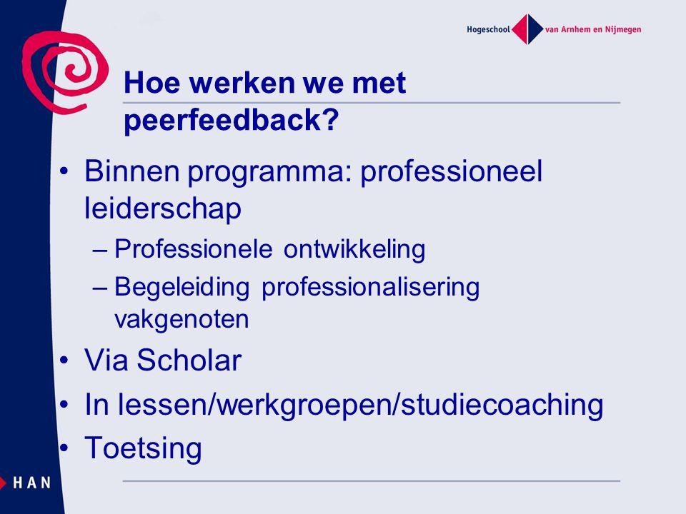 Hoe werken we met peerfeedback? Binnen programma: professioneel leiderschap –Professionele ontwikkeling –Begeleiding professionalisering vakgenoten Vi