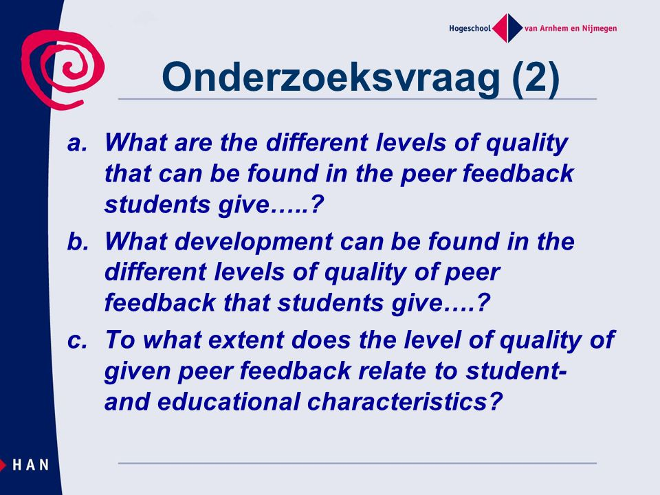Methode Ontwerp –Participants: 170 studenten, 2493 fragmenten –Design research: 6 months students gave peer feedback (see visual) Metingen –Interbeoordelaarsbetrouwbaarheid –Voorbeeld Analyses