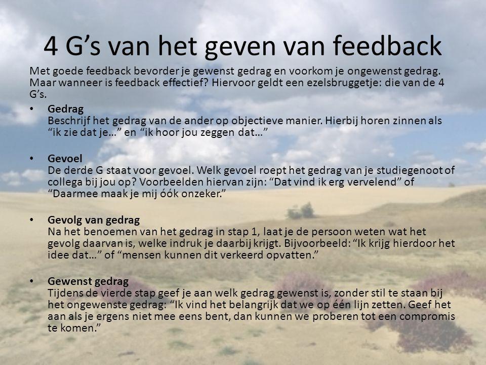 4 G's van het geven van feedback Met goede feedback bevorder je gewenst gedrag en voorkom je ongewenst gedrag. Maar wanneer is feedback effectief? Hie