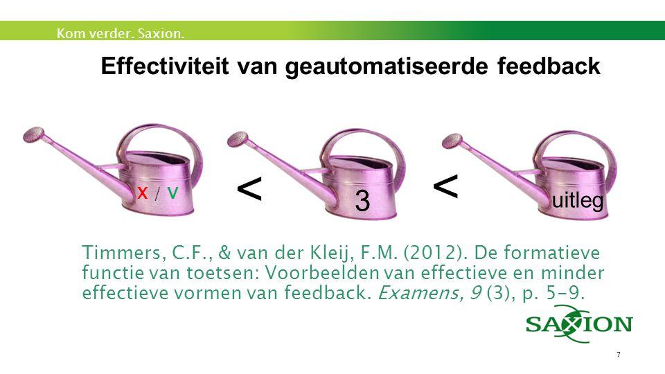 Kom verder. Saxion. Effectiviteit van geautomatiseerde feedback 7 X / V 3 uitleg > > Timmers, C.F., & van der Kleij, F.M. (2012). De formatieve functi