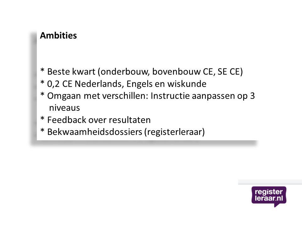 Ambities * Beste kwart (onderbouw, bovenbouw CE, SE CE) * 0,2 CE Nederlands, Engels en wiskunde * Omgaan met verschillen: Instructie aanpassen op 3 ni