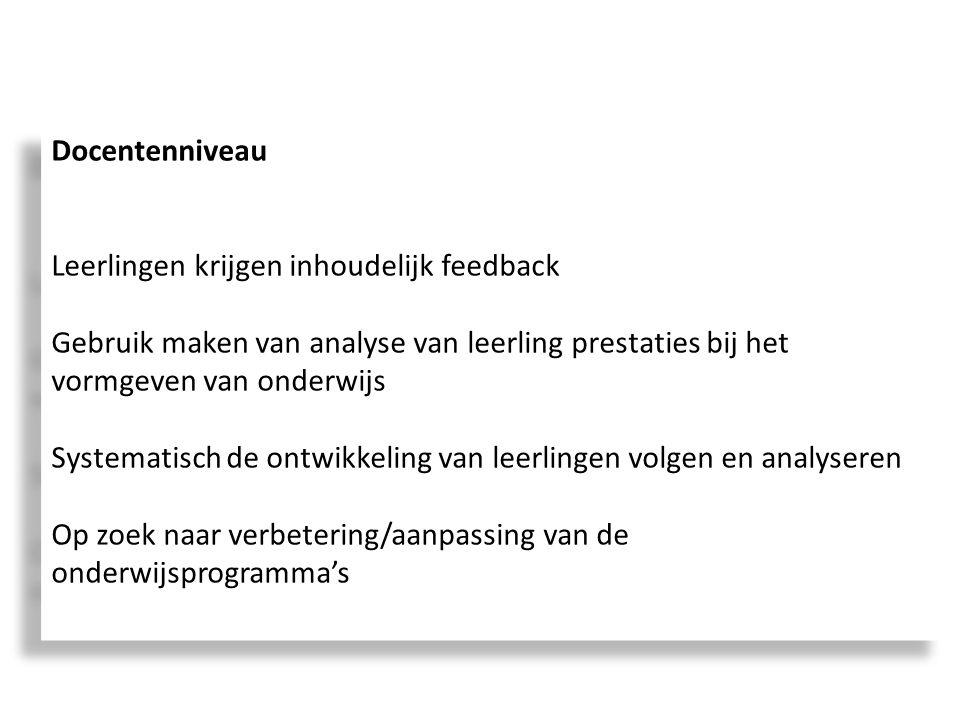 Docentenniveau Leerlingen krijgen inhoudelijk feedback Gebruik maken van analyse van leerling prestaties bij het vormgeven van onderwijs Systematisch