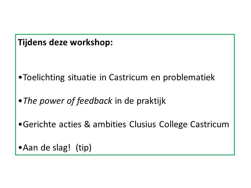 Tijdens deze workshop: Toelichting situatie in Castricum en problematiek The power of feedback in de praktijk Gerichte acties & ambities Clusius College Castricum Aan de slag.