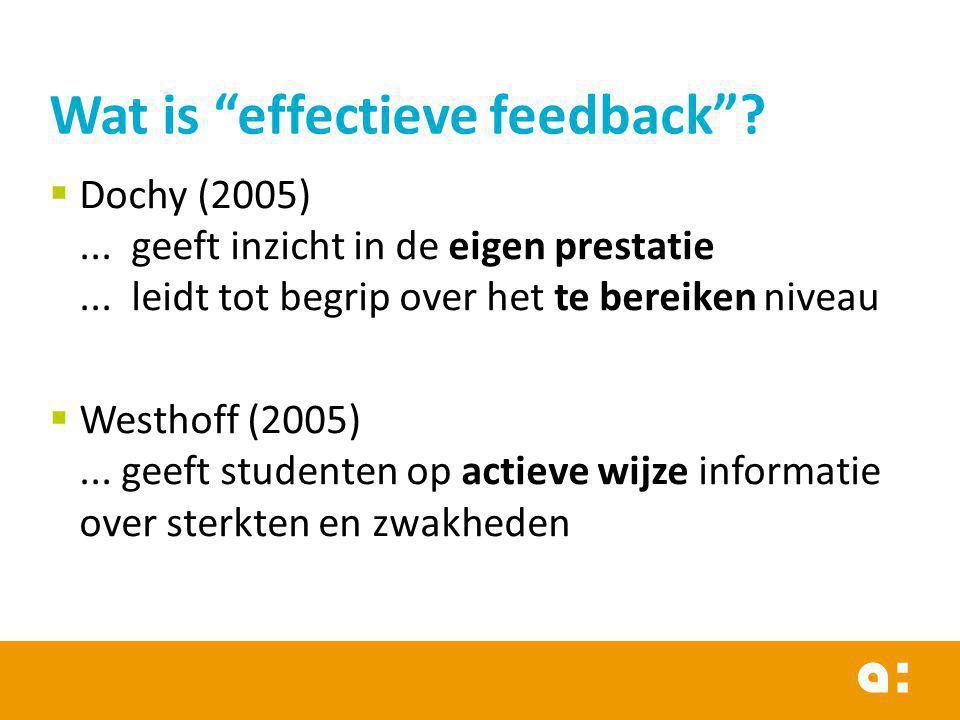  Dochy (2005)... geeft inzicht in de eigen prestatie... leidt tot begrip over het te bereiken niveau  Westhoff (2005)... geeft studenten op actieve