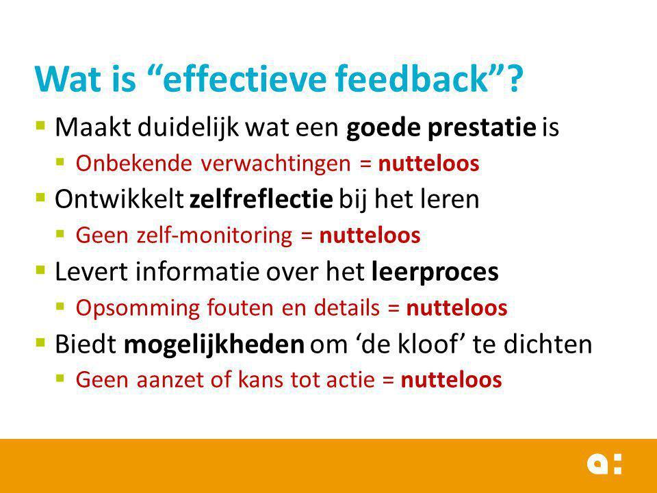  Maakt duidelijk wat een goede prestatie is  Onbekende verwachtingen = nutteloos  Ontwikkelt zelfreflectie bij het leren  Geen zelf-monitoring = n