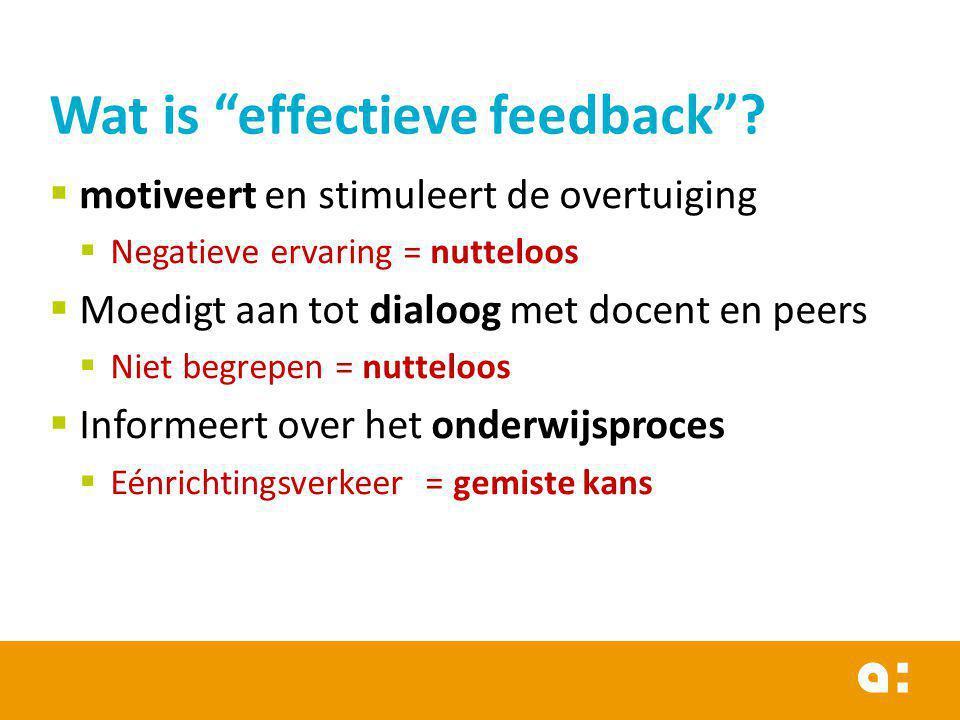 Effectieve feedback … Toont kloof tussen huidig en te bereiken resultaat Effectieve feedback … Zoekt naar informatie over de oorzaak van de kloof Effectieve feedback… Levert info om actie te ondernemen om kloof te dichten Geen eindpunt!