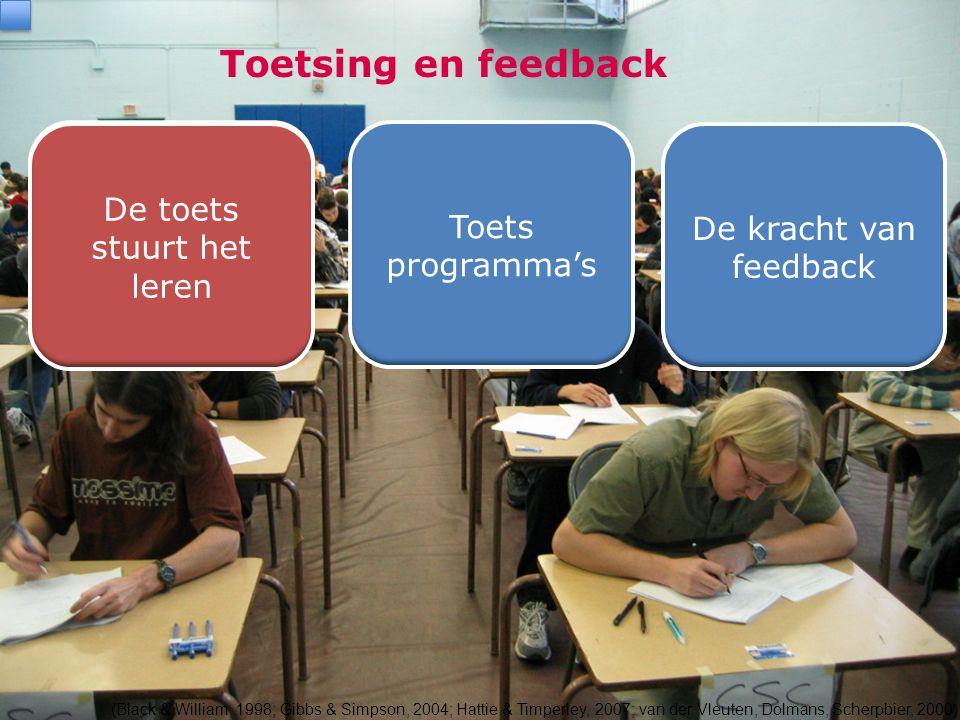 Toetsing en feedback (Black & William, 1998; Gibbs & Simpson, 2004; Hattie & Timperley, 2007; van der Vleuten, Dolmans, Scherpbier, 2000) De toets stu