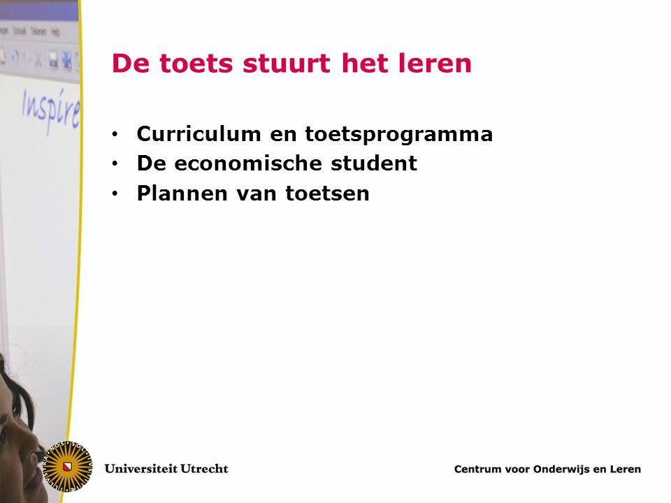 Curriculum en toetsprogramma De economische student Plannen van toetsen