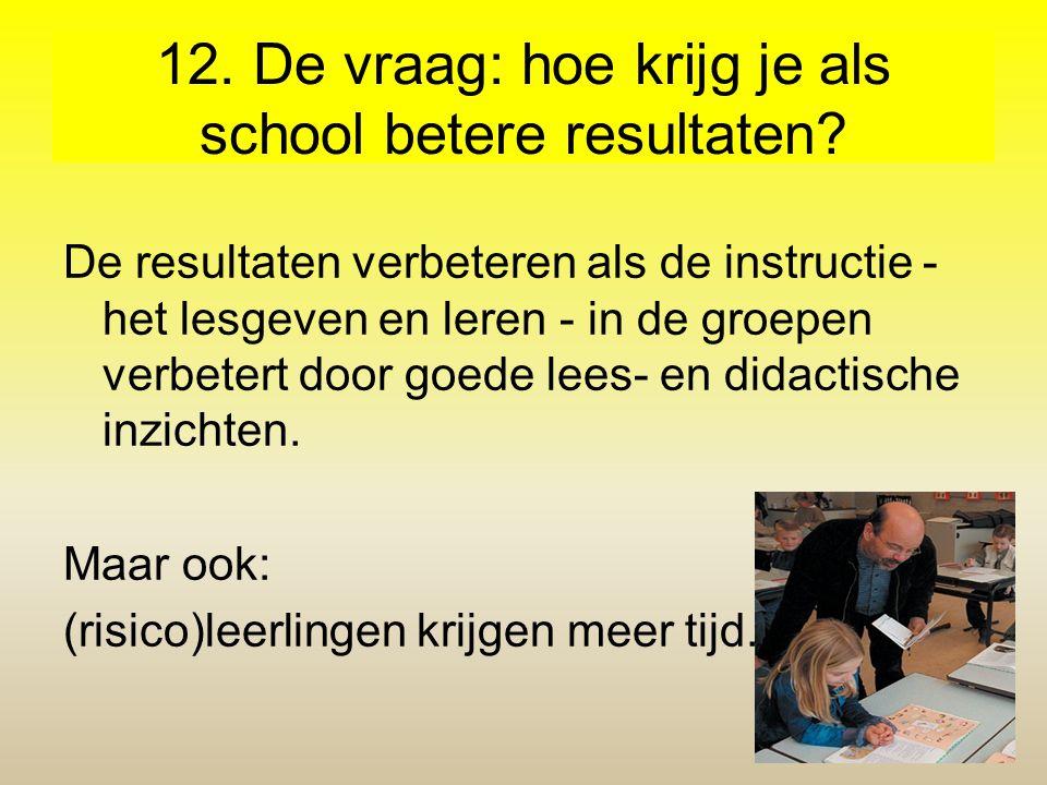 12. De vraag: hoe krijg je als school betere resultaten? De resultaten verbeteren als de instructie - het lesgeven en leren - in de groepen verbetert