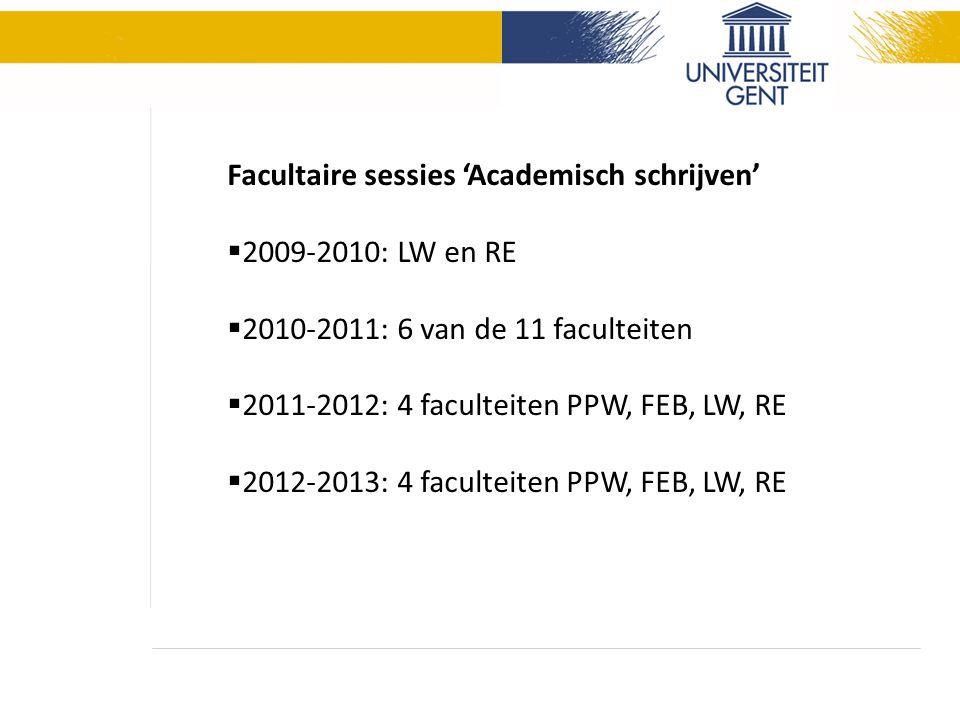 Facultaire sessies 'Academisch schrijven'  2009-2010: LW en RE  2010-2011: 6 van de 11 faculteiten  2011-2012: 4 faculteiten PPW, FEB, LW, RE  2012-2013: 4 faculteiten PPW, FEB, LW, RE