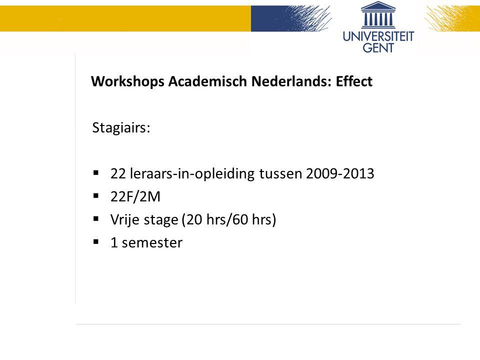 Workshops Academisch Nederlands: Effect Stagiairs:  22 leraars-in-opleiding tussen 2009-2013  22F/2M  Vrije stage (20 hrs/60 hrs)  1 semester