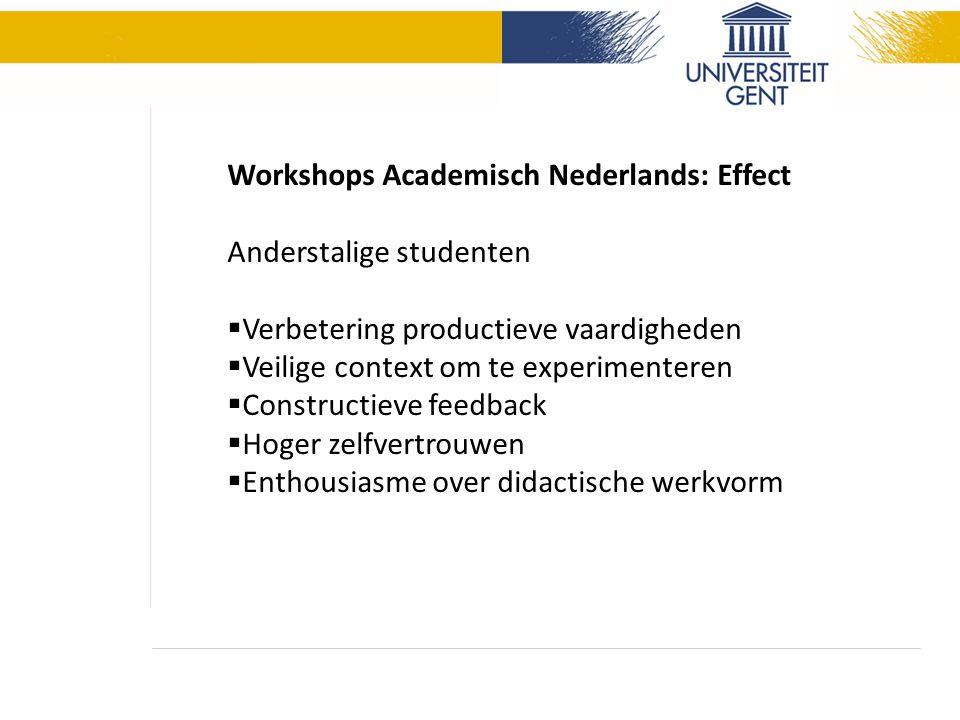 Workshops Academisch Nederlands: Effect Anderstalige studenten  Verbetering productieve vaardigheden  Veilige context om te experimenteren  Constructieve feedback  Hoger zelfvertrouwen  Enthousiasme over didactische werkvorm