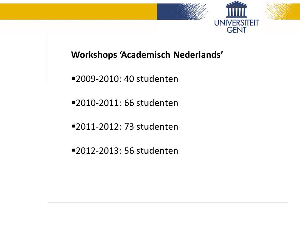 Workshops 'Academisch Nederlands'  2009-2010: 40 studenten  2010-2011: 66 studenten  2011-2012: 73 studenten  2012-2013: 56 studenten