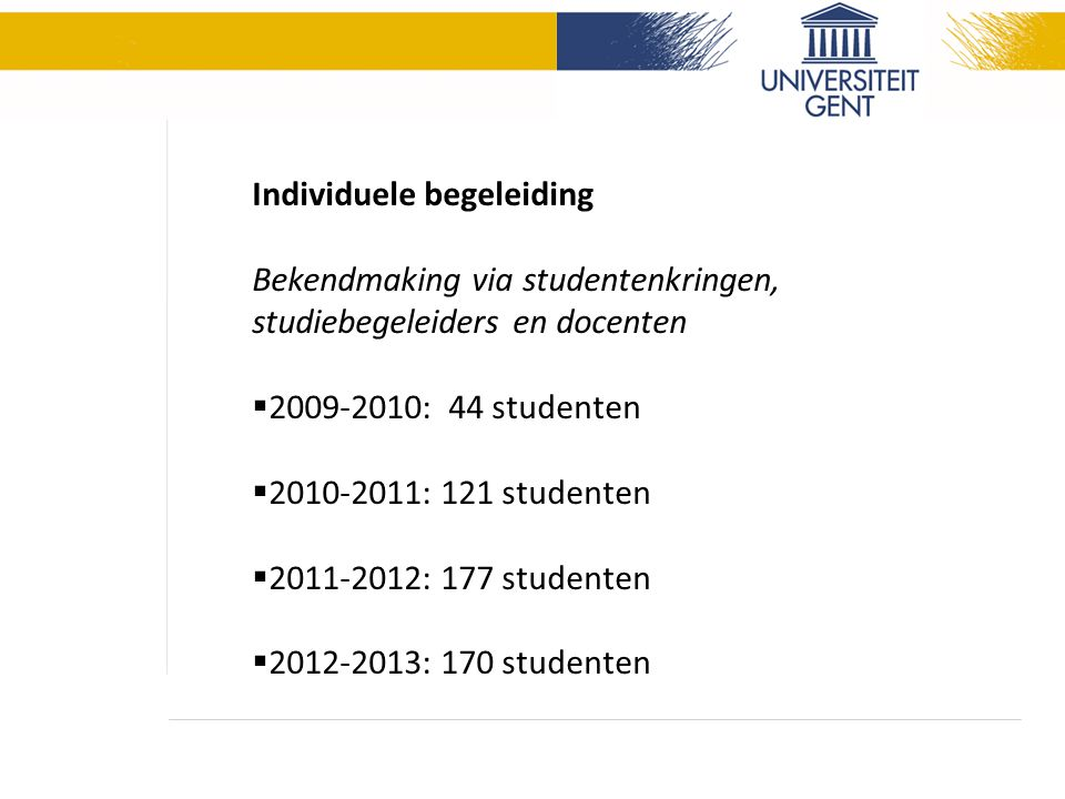Individuele begeleiding Bekendmaking via studentenkringen, studiebegeleiders en docenten  2009-2010: 44 studenten  2010-2011: 121 studenten  2011-2012: 177 studenten  2012-2013: 170 studenten