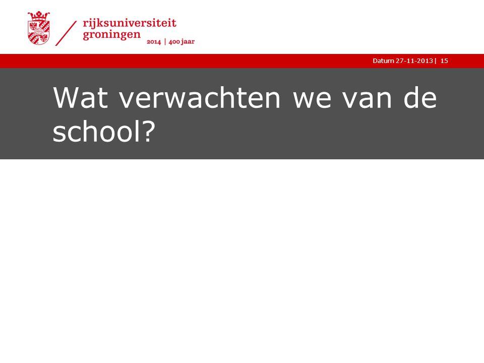 |Datum 27-11-201315 Wat verwachten we van de school