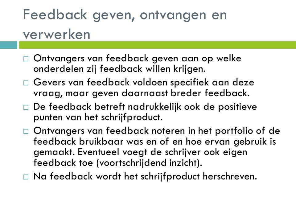 Feedback geven, ontvangen en verwerken  Ontvangers van feedback geven aan op welke onderdelen zij feedback willen krijgen.  Gevers van feedback vold
